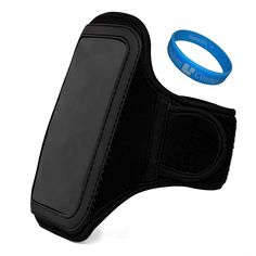 Jet Black VG Water Resistant Hardcore Neoprene Workout Armband with 2 Piece Adjustable Velcro Strap for Samsung ATIV S Neo / Samsung Galaxy S4 / Galaxy S4 Active / Galaxy S4 Mini / Samsung Galaxy Win / Samsung Galaxy Express + SumacLife TM Wisdom Courage Wristband