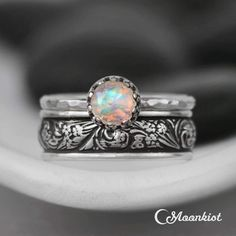 Moonstone Vintage Floral Stacking Ring Set | Moonkist Designs - Golden Moonstone. #silver #rings #jewelry #gold #handmade #ring #fashion #style #diamonds #earrings #handmadejewelry #bracelets #accessories #design #bracelet #luxury #necklace Engagement Ring Buying Guide, Engagement Ring Settings, Engagement Rings, Stacked Wedding Rings, Wedding Rings Simple, Bridesmaid Jewelry Sets, Engraved Rings, Wedding Sets, Wedding Bands
