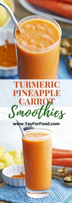 Turmeric Pineapple Carrot Smoothies The sweet flavour of pineapple meets nutritious carrots in this bright, refreshing smoothie recipe. Together with aromatic, golden-yellow turmeric, it's sunshine in a glass. Fruit Smoothies, Carrot Smoothie, Turmeric Smoothie, Good Smoothies, Juice Smoothie, Smoothie King, Best Smoothie Recipes, Smoothie Drinks, Healthy Smoothie Recipes