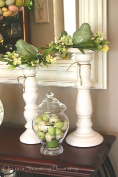Spring & Easter mantle decorating idea