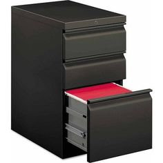 Hon Efficiencies Mobile Pedestal File with 1 File/2 Box Drawers, Black