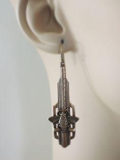 Art Deco Earrings Honey Bee Earrings Vintage Earrings
