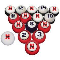 Nebraska Huskers Billiard Pool Ball Set