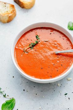 Roasted tomatoes, onion, and garlic form the base of this incredible (best ever!) roasted tomato basil soup. Healthy and hearty!