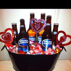 Custom Valentine Basket. Bud Light Basket.