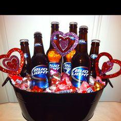 Custom Valentine Basket. Bud Light Basket. Valentines Diy, Valentine Gift Baskets, Valentine Bouquet, Husband Valentine, Mens Valentines Gifts, Valentine Cookies, Birthday Basket, Candy Bouquet, Valentine Decorations