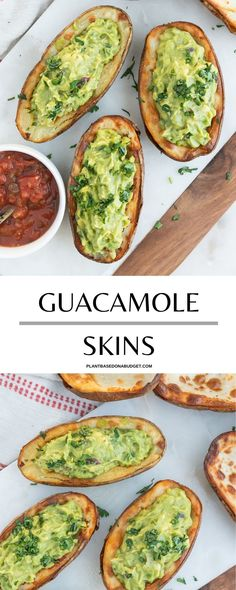 This Guacamole Skins recipe is the marriage of our two biggest food loves: potatoes and avocados. Match made in heaven? Yes, one hundred percent! #guacamole #potatoes #skin #vegan #appetizer #plantbasedonabudget Best Vegan Snacks, Vegan Party Food, Vegetarian Appetizers, Healthy Eating Recipes, Vegan Breakfast Recipes, Delicious Vegan Recipes, Lunch Recipes, Appetizer Recipes, Potato Recipes