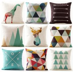 Cheap cushion cover, Buy Quality elephant cushion cover directly from China cushion cover arrow Suppliers: Color Geometric Triangles Animals Deer Stag Elephant Cushion Covers Arrow Plaids Mountains Cushion Cover Beige Linen Pillow Case Oil Painting Trees, Elephant Cushion, Geometric Trees, Animal Pillows, Triangles, Deer, Cushions, Throw Pillows