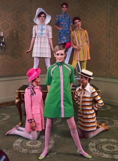 Twiggy and friends model a new clothing line, 1967.