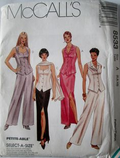 McCalls 8533 Women's 90s Unlined Vest or Sleeveless Blouse, Pants, and Skirt Sewing Pattern Size 6, 8, 10 Bust 30 1/2, 31 1/2, 32 1/2