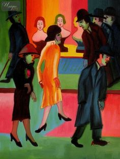 """ERNST LUDWIG KIRCHNER - AT THE BARBERSHOP 12X16 """" REPRODUCTION OIL PAINTING Paintings In Stock Reproductions By Artist Ernst Ludwig Kirchner..."""