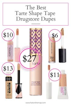The Best Drugstore Makeup: Shape Tape Concealer Dupes - Amanda -You can find Dupes and more on our website.The Best Drugstore Makeup: Shape Tape Concealer Dupes - Amanda - Best Eyebrow Products Drugstore, Drugstore Lipstick Dupes, Best Makeup Products, Best Drugstore Primer, Revlon Products, Best Drugstore Foundation, Foundation Dupes, Elf Makeup Dupes, Beauty Products