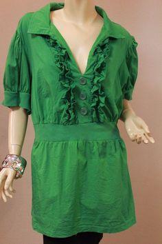 Torrid Green Knit Stretch Top Tunic Ruffles Buttons 3 3X 22-24 Short Sleeve #Torrid #KnitTop