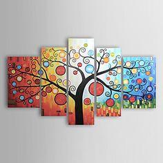 met+de+hand+geschilderde+abstracte+olieverf+met+gestrekte+frame+-+set+van+5+–+EUR+€+98.99