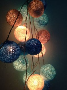 Cotton ball lights for home decor,party decor,wedding patio,20 pieces indoor string lights bedroom fairy lights,blue,white,light blue on Etsy, $13.11 AUD
