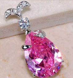 8CT Pink Sapphire & White Topaz 925 Solid Sterling Silver Pendant - Gem Artistry, LLC