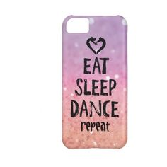 Glittery Eat, Sleep, Dance case Iphone 5c Covers ($32) ❤ liked on Polyvore featuring accessories and tech accessories