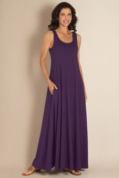 Santiago Dress - Long Dress, Scoop Neck, Side-seam Pockets  | Soft Surroundings -- My mom ordered this dress for herself in brown and I got it in purple and we are wearing them on our next cruise.