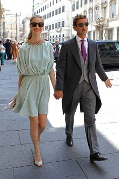 5.30.15  Beatrice Borromeo, in Valentino S15 (Look 66) and Pierre Casiraghi at wedding of Joseph Getty and Sabine Ghanem in Rome