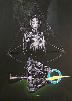 """http://www.piziarte.net/ #Opera #presente NEL #MAGAZZINO_DI_PIZIARTE #SERGIO_SARRI """"Studio per il grande robot (in verde)"""", 1981, acrilico su tela, cm 60 X 80  #artecontemporanea #contemporaryart #artist #artista"""