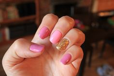 Simple but pretty - different pinks and gold - by Karen @ Valley Nails - NYC