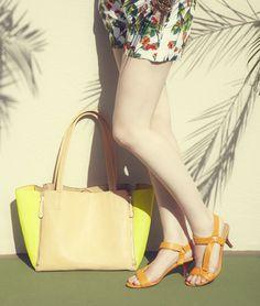 Burnt Orange Heels, Oversized Satchel, Tropical Dress