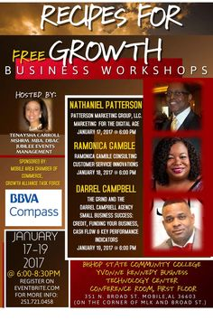 RECIPES FOR GROWTH (FREE BUSINESS WORKSHOPS) ATTENTION ALL Entrepreneurs, Freelancers, Home-Based Businesses, Micro Businesses, Small Business Owners and Solopreneurs or just someone that wants to come to listen and learn! This will be the most informative and motivating workshops you will ever attend. EACH NIGHT IS A DIFFERENT TOPIC: TUESDAY, JANUARY 17 @6:00 PM- NATHANIEL PATTERSON, (and Mary Taylor, owner, Elegant Knights Limo-Party Bus) MARKETING FOR THE DIGITAL AGE. WEDNESDAY, JANUARY…