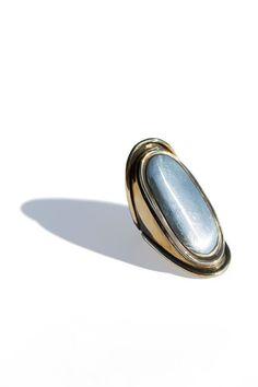 pamela love ring...long ring with metal cabochon