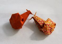 Yellow Origami Bird: Origami Snail