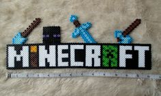 Minecraft Sign Logo OR Personalized Name Perler Bead Christmas Birthday Gift Cake Topper Bedroom Decoration Minecraft Sign, Hama Beads Minecraft, Minecraft Crafts, Perler Beads, Perler Bead Art, Fuse Beads, Hama Beads Design, Hama Beads Patterns, Beading Patterns