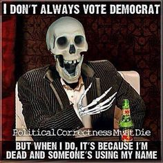Skeleton, Democrat, Republican, Vote, Signs