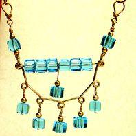 Smile Yoke Jewelry Making Project Made with Swarovski Square Aqua Beads