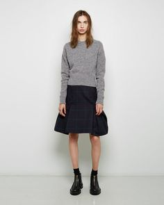 Sacai  Windowpane Wool Peplum Skirt