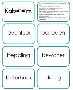 Speel Kaboom met de woorden die een korte klank en een lange klank aan het eind van een klankgroep hebben. Sluit aan bij Taal Actief thema 4 van groep 5.