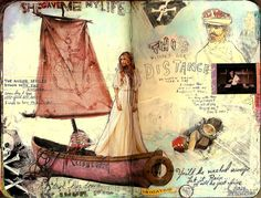 Fab journal page spread w/ wonderful, vulnerable emotion & great symbolism.  by Juliana Coles...especially love the boat & girl magazine cutouts!