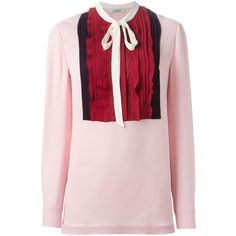 Valentino pussy bow blouse (3,884 CAD) ❤ liked on Polyvore featuring tops, blouses, valentino blouse, ruched long sleeve top, bow neck top, bow blouse and long sleeve tops