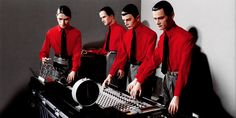 "Kraftwerk, artwork for ""The Man Machine"", 1978 Florian Schneider, The Man Machine, Best Of 80s, Jean Michel Jarre, Rock Artists, Music Pics, Band Photos, Electronic Music, Progressive Rock"