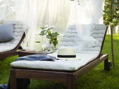 Spring is here! Make the most of your outdoor space with IKEA lounging and relaxing furniture, like this ÄPPLARÖ chaise and SOLIG net.