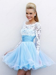 A-line Scoop Tulle Satin Short/Mini Lace Homecoming Dresses