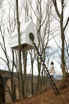 Wifi+Cookies and milk+iPad+Comforters;This birdhouse-shaped treehouse designed by Nendo houses two birds with one stone.