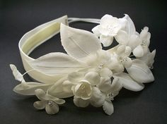 Ivory Stephanotis Bridal Headband Swarovski Crystals Wedding Headwear