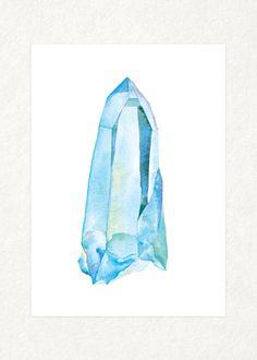 This is a water color! Squeeeeeeee! // Aqua Aura 5 x 7 Watercolor Art Print by songdancedesign on Etsy