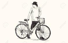 Boceto de un hombre y una bicicleta, dibujo a mano alzada, vector e ilustración Foto de archivo - 74390082 Bicycle, Pastel, Google, Art, Sketch, Computer File, Draw, Bicycles, Tags