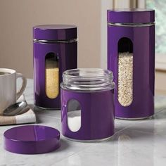Kitchen Ideas for Unique and Modern Look Purple Kitchen AccessoriesPurple Kitchen Accessories Purple Home, Purple Kitchen Accessories, Purple Kitchen Decor, Gris Violet, Purple Furniture, Cocinas Kitchen, Purple Punch, All Things Purple, Purple Stuff