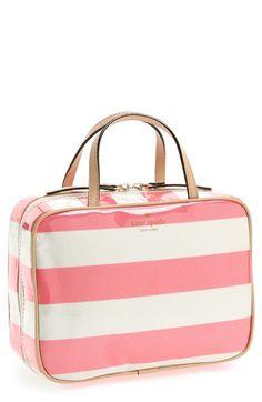 cosmetics case, pink stripes, travel