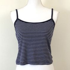vintage victoria's secret cami crop top size medium victoria's secret, cotton cami tank top crop top, with blue and white stripes. has adjustable straps // #striped #american basics style Victoria's Secret Tops Camisoles