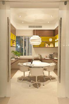home office, madeira, branco, amarelo