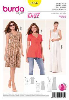 Misses Maternity Dress and Shirt Burda Sewing Pattern No. 6956. Size 8-20.