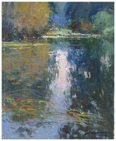 José Salvaggio Water reflections a passion right now exciting, but difficult today , 46 x 38 cm
