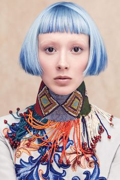 Aveda Spring/Summer 2014 Collection: Culture Clash I like the cut, not the color Couleur Aveda, Aveda Hair Color, Hair Colour, Colour Colour, Foto Fashion, Blue Fashion, My Hairstyle, Creative Colour, Creative Hairstyles